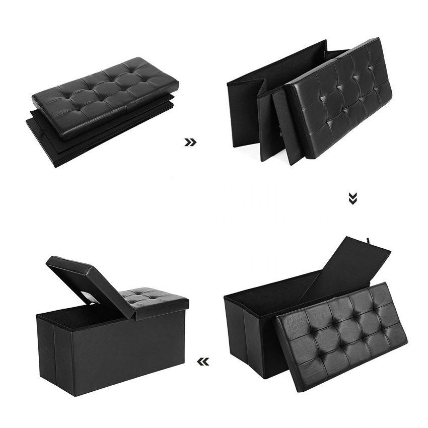 Puff Baúl Plegable Taburete de Almacenamiento 80 L Tapa Plegable Carga máxima de 300 kg Negro 76 x 38 x 38 cm LSF45BK