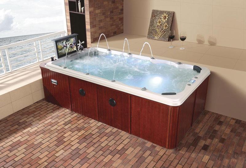 Piscina de hidromasaje swim spa con jacuzzi creando for Piscinas con jacuzzi precio