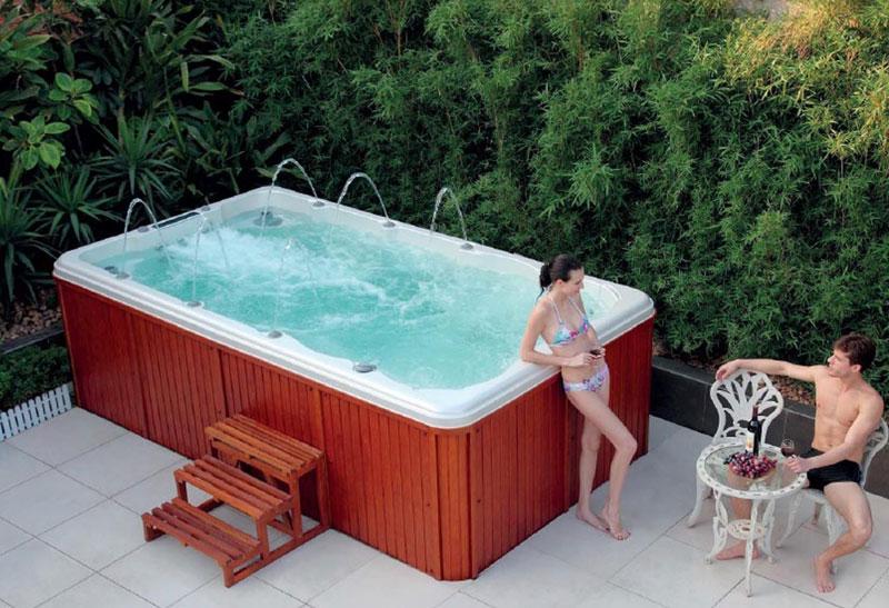 Piscina de hidromasaje swim spa con jacuzzi creando for Calefactor para piscina